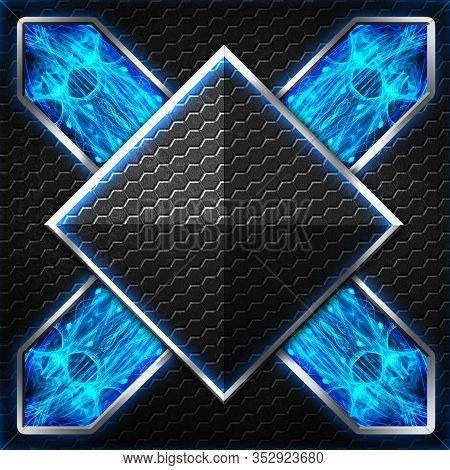 Black Hexagon X Frame On Blue And White Light. Background And Texture For Scifi And Game Design. 3d