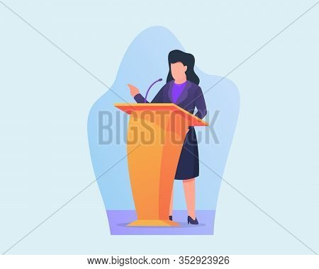 Woman Give Business Speech On Podium With Modern Flat Style Vector