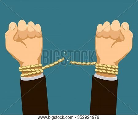 Human Hands Are Tied With A Rope. Man Is Tearing Shackles. Vector Flat Graphics Illustration.