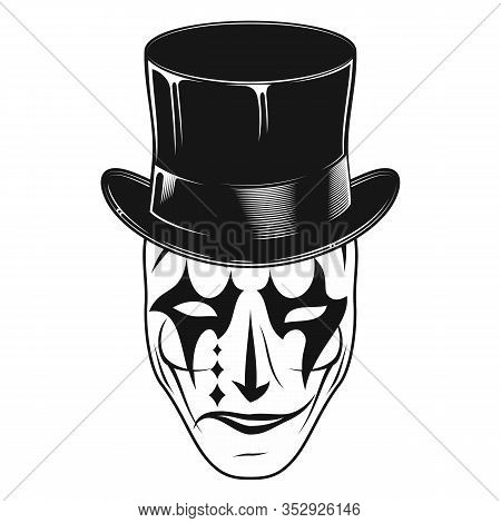 Original Vector Image Of A Theatrical Mask In A Cylinder. Comedy And Tragedy. Kind And Evil Joker. C