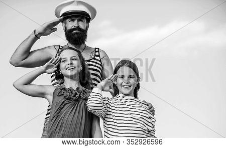 Marine Tour. Sea Cruise. Handsome Bearded Sailor With Kids. Travel Around World. Travel By Sea. Summ