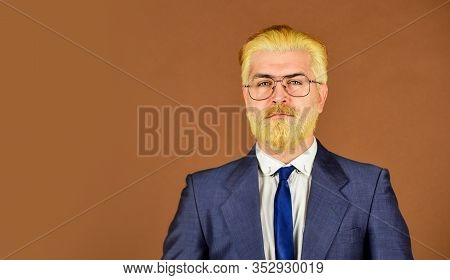 Handsome Businessman. Serious Intentions. Businessman Formal Suit. Leadership Concept. Well Groomed