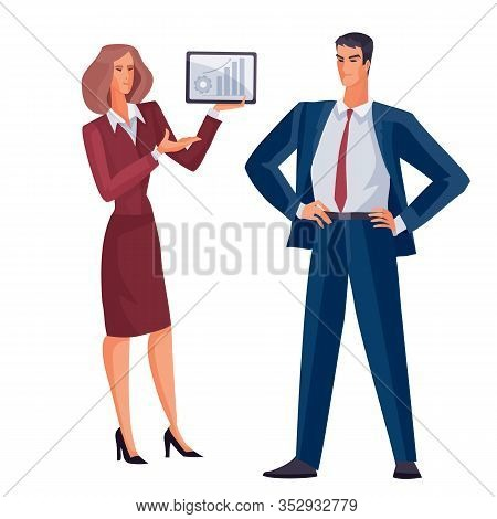 Man And Woman Stand On A White Background, She With A Tablet In Her Hands, He Looks At Nen And That
