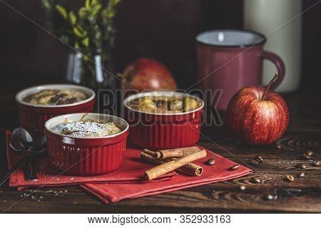 Romantic Breakfast Or Supper With Coffee. Apple Pie In Ceramic Baking Molds Ramekin On Dark Wooden T