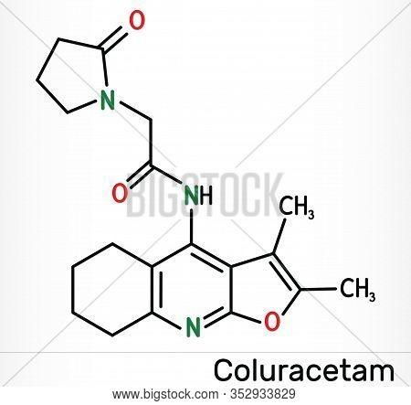 Coluracetam, Bci-540, C19h23n3o3 Molecule. It Is Is A Nootropic Agent Of The Racetam Family. Skeleta