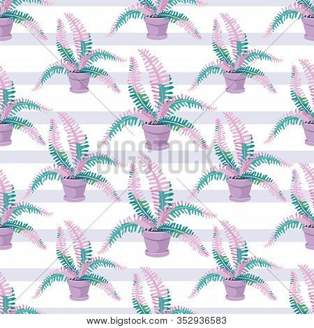Decorative Fern. Vector Background. Pattern With Houseplant. Big Fern Leaves In A Flower Pot. Exotic