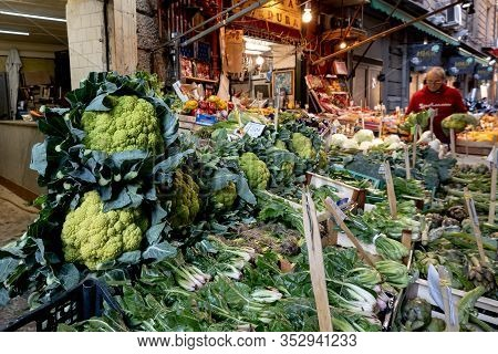 Palermo, Sicily - February 8, 2020: The Farmer Market At Discesa Maccheronai Street In Palermo Where