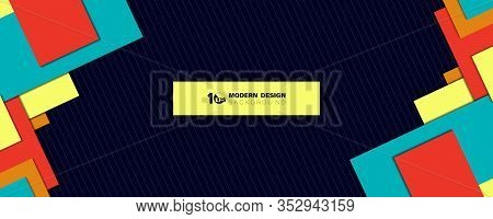 Abstract Wide Overlap Square Geometric Of Colorful Overlap Template Design Background. Decorate For