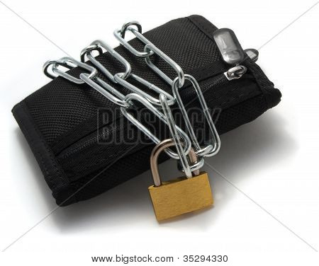 A wallet chained with padlock on a white background