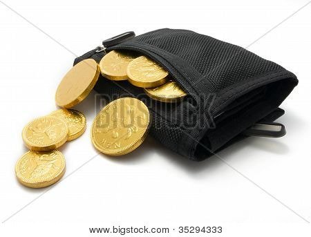 Chocolate coins spilling out of a wallet