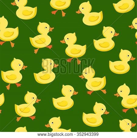 Ducklings, Seamless Pattern, Color, Green, Vector. Yellow Cheerful Ducklings. Color, Flat Picture. V