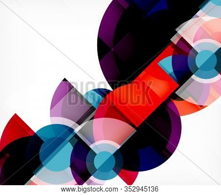 Abstract background, circle and triangle design round shapes overlapping each other. Geometric trendy template. Illustration For Wallpaper, Banner, Background, Card, Book Illustration, landing page