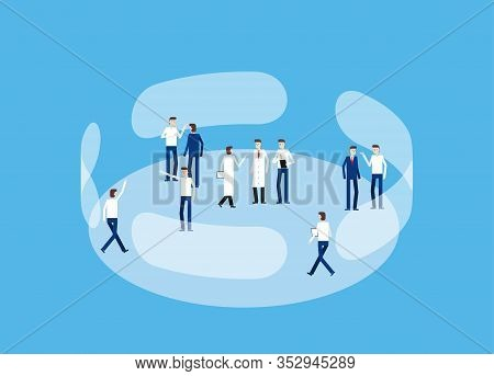 Working Place. Concept Business Discussion Vector Illustration, Support, Social Gathering. Social Is