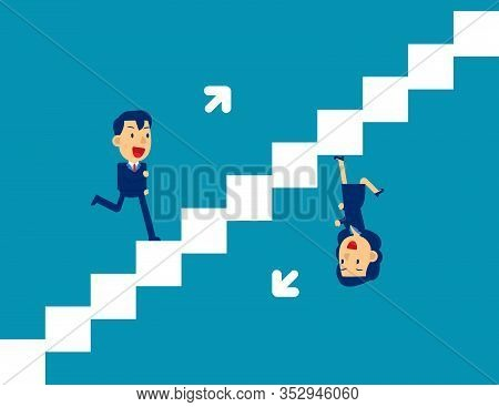 Cute Person Running Up And Down Stairs. Competition People Concept, Flat Cartoon Style Design.