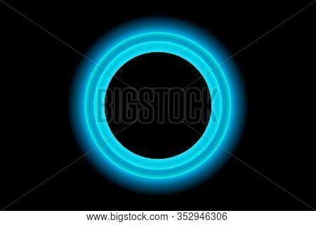 Blue Neon Round Frame. Luminous Swirling Bunner. Shining Circle Light Banner. Glowing Spiral. Light