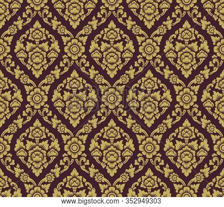 Gold And Brown Lai Thai Pattern ,thai Traditional Background With Flowers And Vines Cross Vector Art