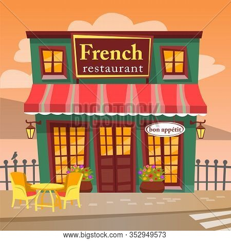 French Restaurant, Terrace With Table And Chairs, Urban Place For Lunch Or Supper. Cafe With Floors