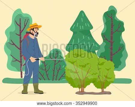 Farmer Sprays Poison Plants Using Pulverizer On Field. Green Shrubs Growth On Garden, Man Caring Abo