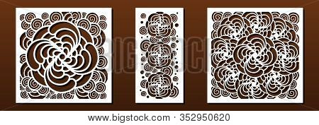 Laser Cut Templates For Panel Decor. Abstract Geometric Pattern, Floral Design. Vector Set For Metal