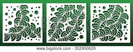 Laser Cut Panel Templates With Abstract Geometric Floral Pattern. Wood Or Metal Cutting, Fretwork St