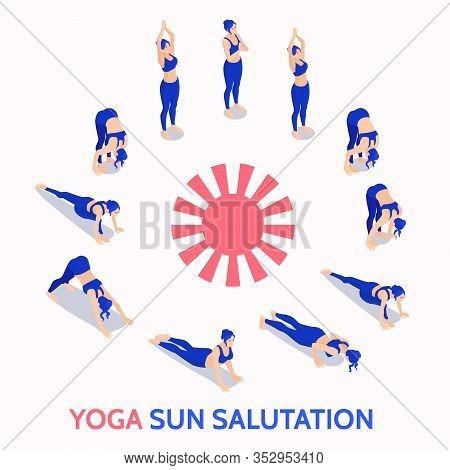 Yoga Sun Salutation Routine Daily Practice Isometric Illustration