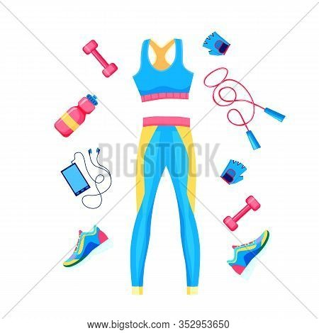 Set Of Female Fitness Equipment. Top, Leggins, Dumbbell, Rope And Sneakers