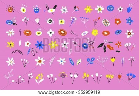 Spring Flowers. Illustration Of Nature Flower Spring And Summer In Garden. Set Of Flowers And Floral