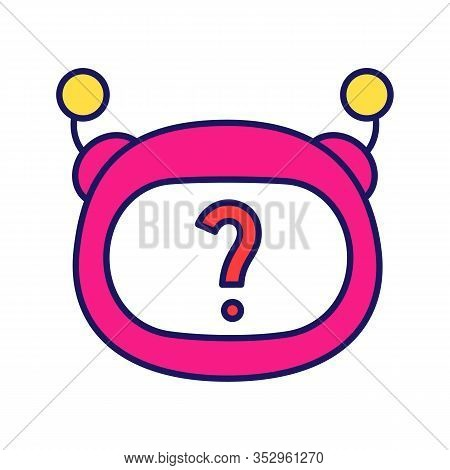 Help Chatbot Color Icon. Faq Chat Bot. Virtual Assistant. Robot Face With Question Mark. Artificial