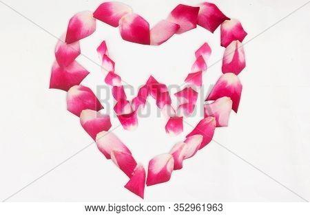 Love Shape Rose Petal Letter W Background Image On White Background. Letter W Into Love Shape