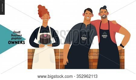 Owners -small Business Owners Graphics. Modern Flat Vector Concept Illustrations - Young Red-hairede