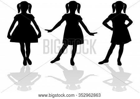Silhouette Of A Girl In A Dress. Vector Illustration Isolated On White Background.