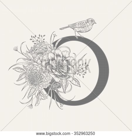 Letter O, Luxury Peonies, Decorative Herbs, Cute Flowers And Bird Isolated. Vector Decoration. Black