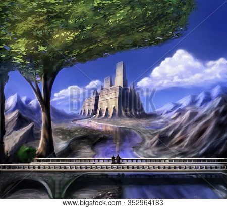 Fantasy Dreamy Castle With Tree And Bridge