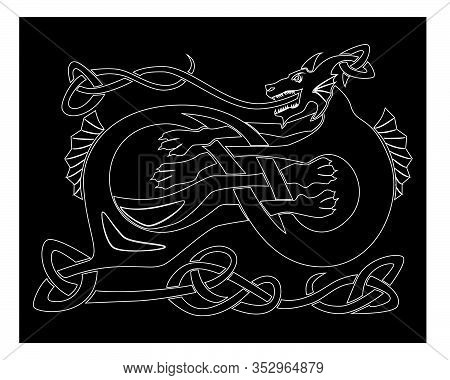 Sea Dragon Outline Nordic Culture Pattern Vector