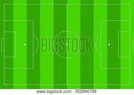 Football Pitch. Striped Green Soccer Field. Vector Illustration