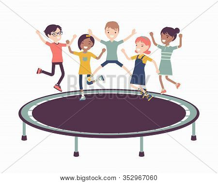 Trampoline Jump Kids Entertainment. Outdoor Bounce Equipment For Children, Family And School Fun, Pl