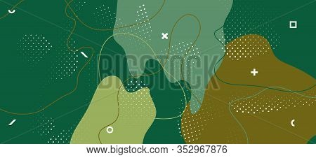 Modern Camouflage Background. Trendy Forest Wave Cover. Creative Green Military Pattern. Hipster Cam