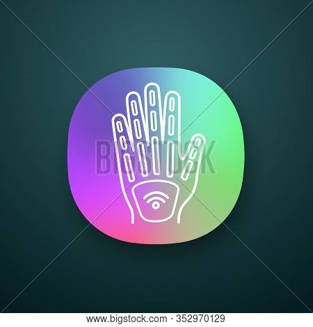 Human Microchip Implant In Hand App Icon. Nfc Implant. Implanted Rfid Transponder. Ui Ux User Interf