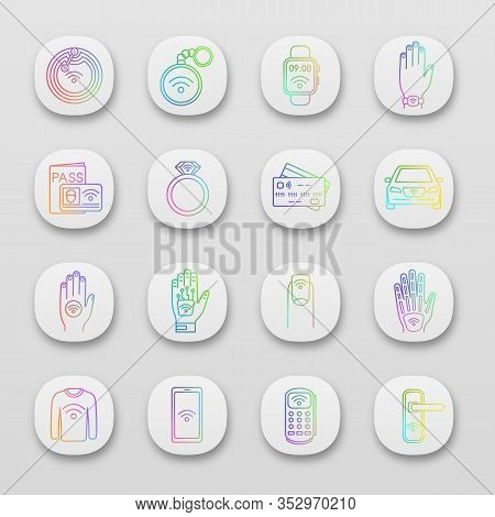 Nfc Technology App Icons Set. Near Field Communication. Rfid And Nfc Tag, Sticker, Phone, Trinket, R
