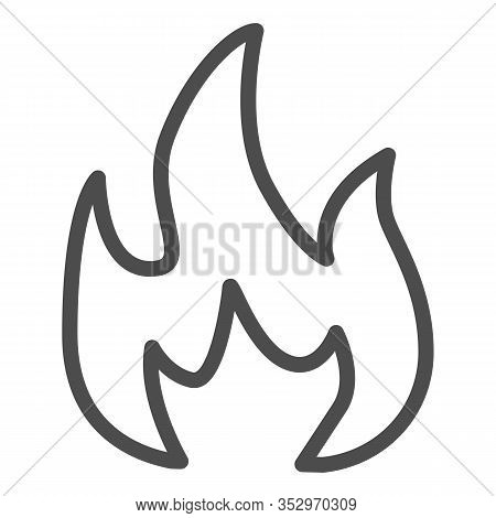 Highly Flammable Line Icon. Attention Fire Warning Sign. Firefighter Vector Design Concept, Outline