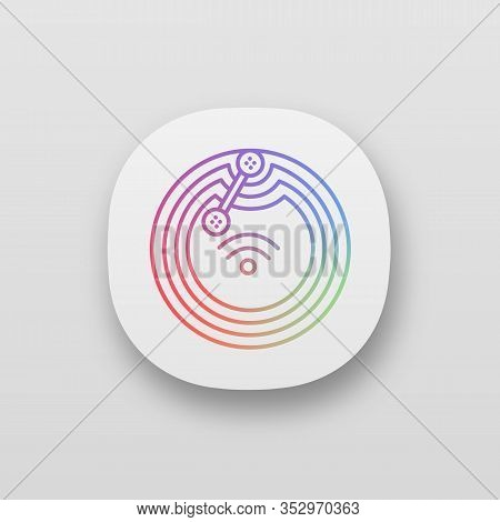 Nfc Microchip App Icon. Near Field Communication. Rfid Transponder. Ui Ux User Interface. Nfc Tag. C