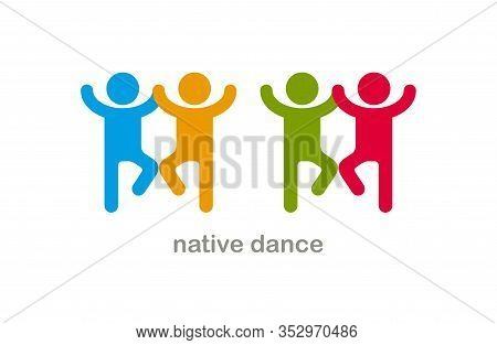 Native Dances Funny Vector Icon Isolated On White, Cute People Comical Dancing Carnival Traditional