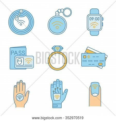 Nfc Technology Color Icons Set. Near Field Chip, Trinket, Smartwatch, Identification System, Ring, C