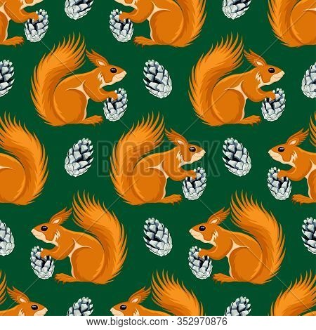 Seamless Pattern With Squirrels And Cones On A Green Background.