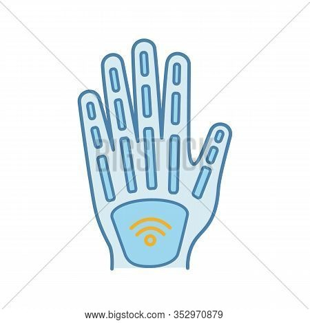 Human Microchip Implant In Hand Color Icon. Nfc Implant. Implanted Rfid Transponder. Isolated Vector