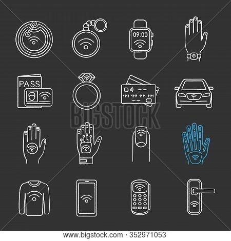 Nfc Technology Chalk Icons Set. Near Field Communication. Rfid And Nfc Tag, Sticker, Phone, Trinket,