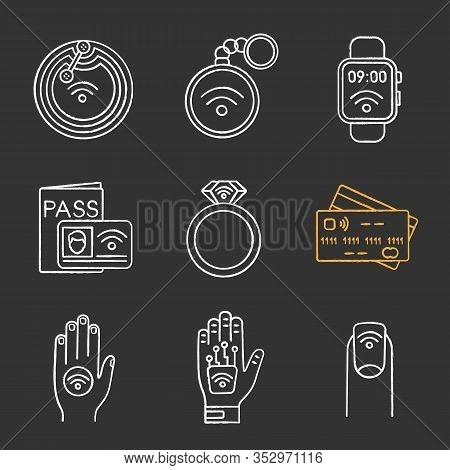 Nfc Technology Chalk Icons Set. Near Field Chip, Trinket, Smartwatch, Identification System, Ring, C
