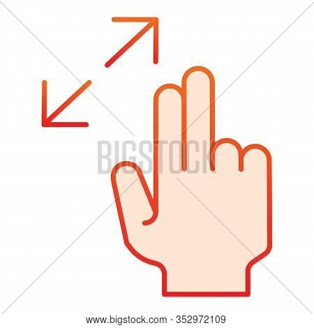 Resize Gesture Flat Icon. Zoom In Vector Illustration Isolated On White. Swipe Gesture Gradient Styl