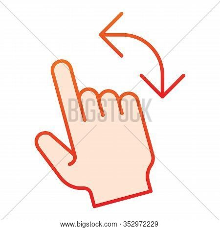 Turn Left Gesture Flat Icon. Swipe Vector Illustration Isolated On White. Flick To Left Gradient Sty