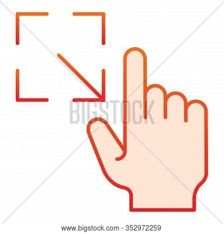 Resize Gesture Flat Icon. Enlarge Touch Screen Vector Illustration Isolated On White. Click Gradient